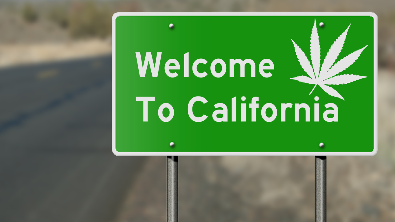 Welcome to California highway sign with marijuana leaf