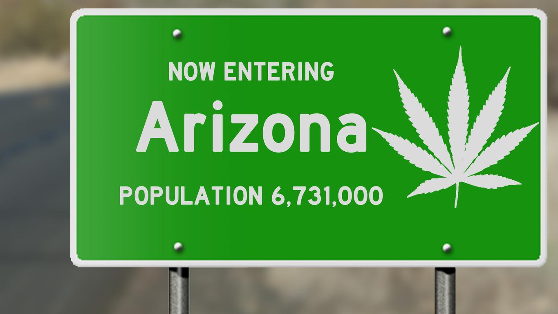 Arizona highway sign with marijuana leaf